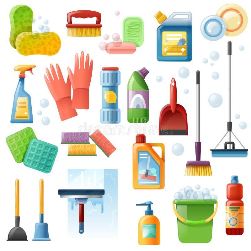 Icone piane degli strumenti dei rifornimenti di pulizia messe illustrazione vettoriale