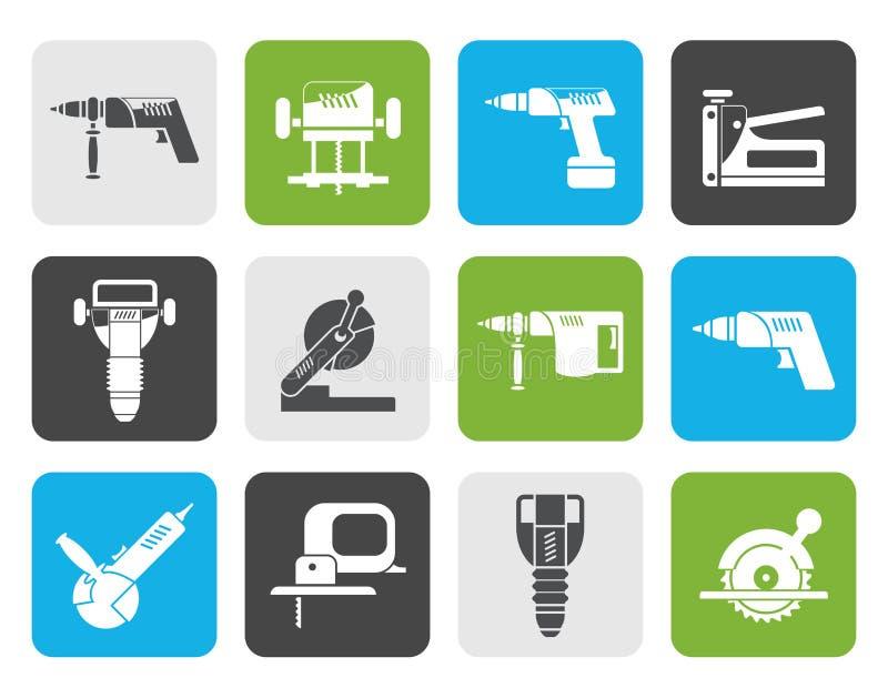 Icone piane degli strumenti della costruzione e dell'edificio illustrazione di stock