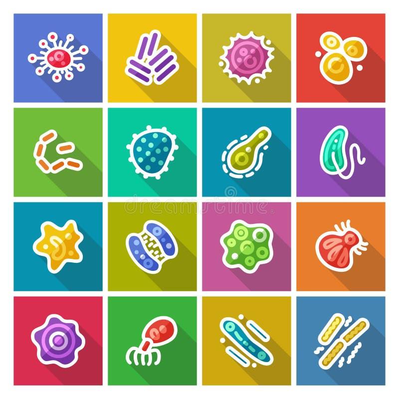 Icone piane dei batteri e dei germi messe illustrazione di stock