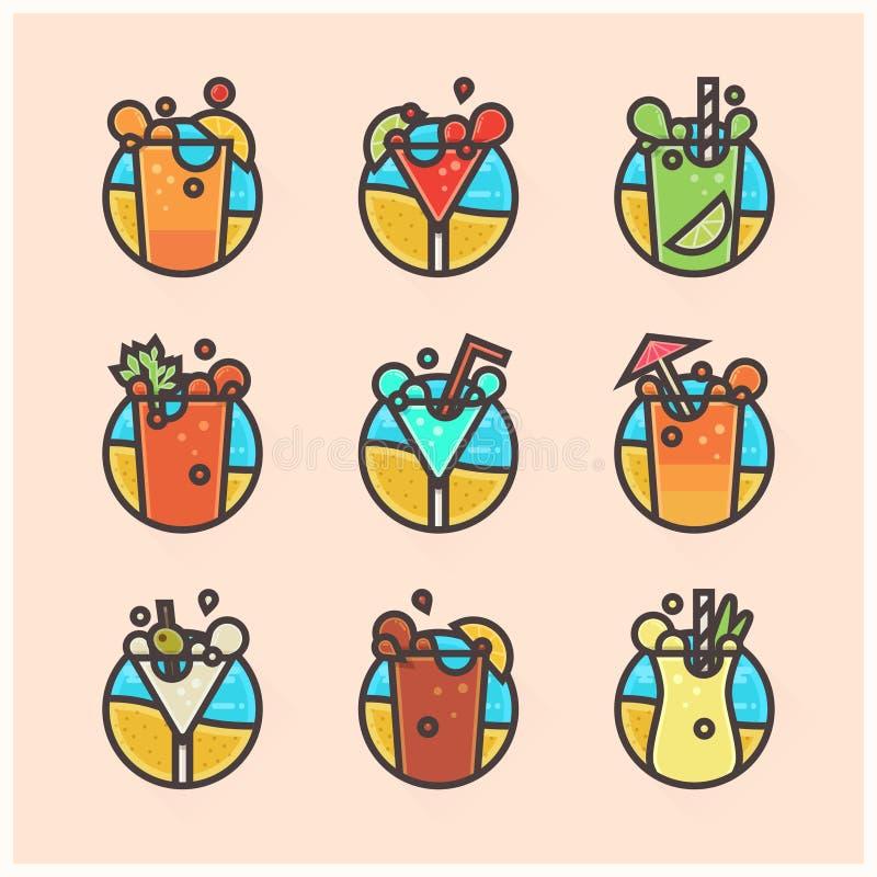 Icone piane dei cocktail royalty illustrazione gratis