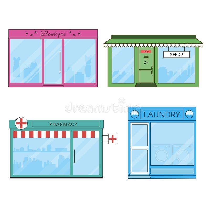 Icone piane dei depositi e dei negozi illustrazione vettoriale
