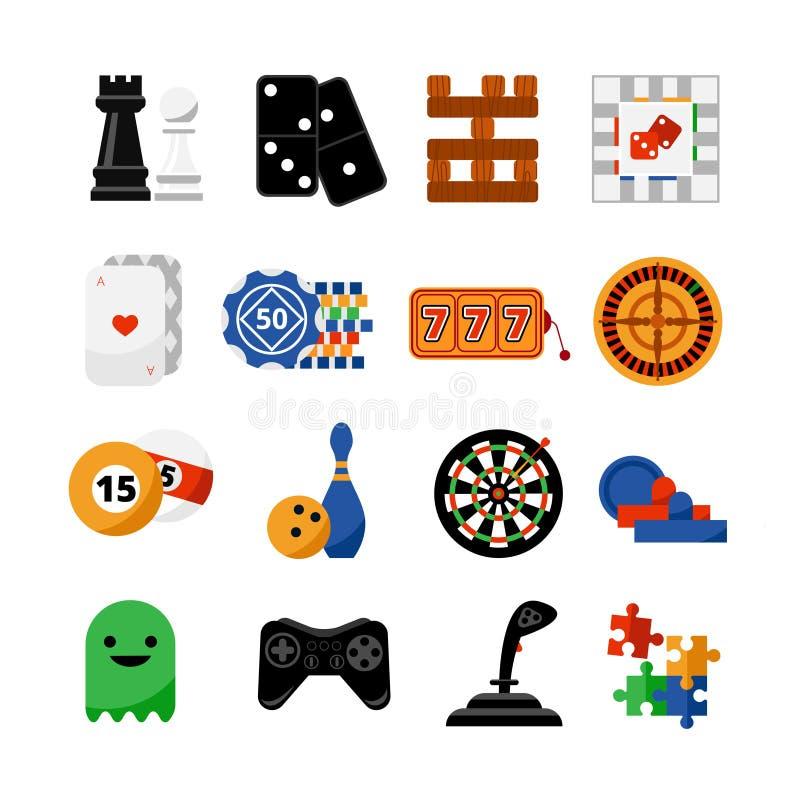 Icone piane dei giochi del casinò di gioco messe illustrazione vettoriale