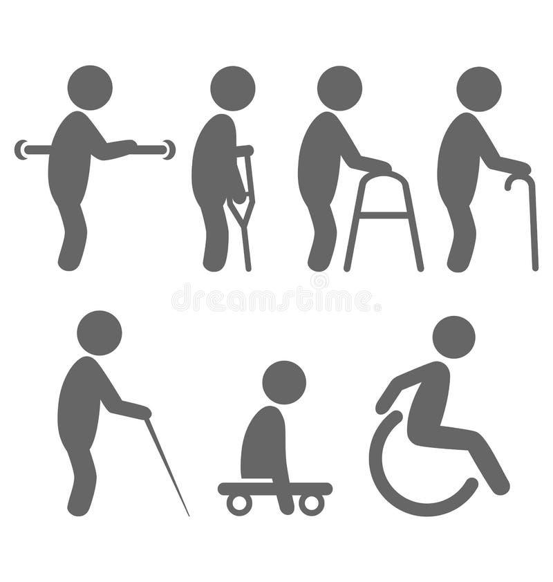 Icone piane dei pittogrammi della gente di inabilità isolate su bianco illustrazione di stock