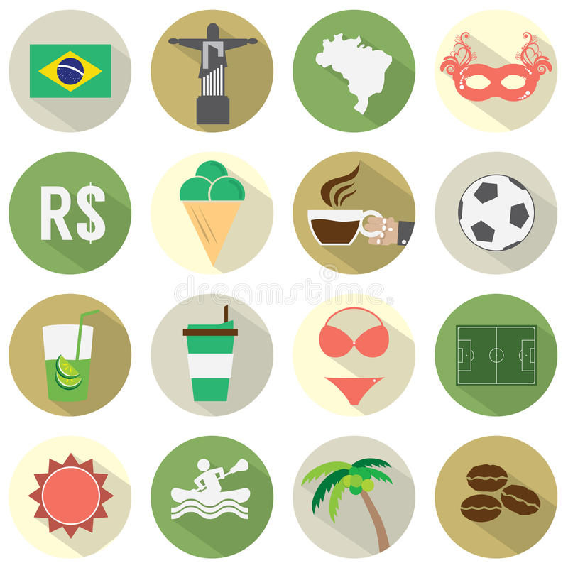 Icone piane del Brasile di progettazione messe illustrazione di stock