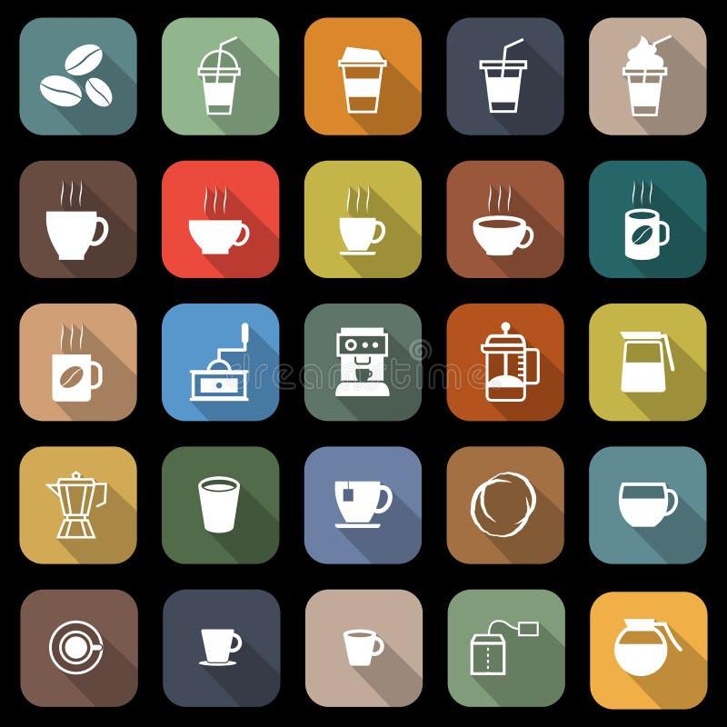 Icone piane del caffè con ombra lunga illustrazione di stock