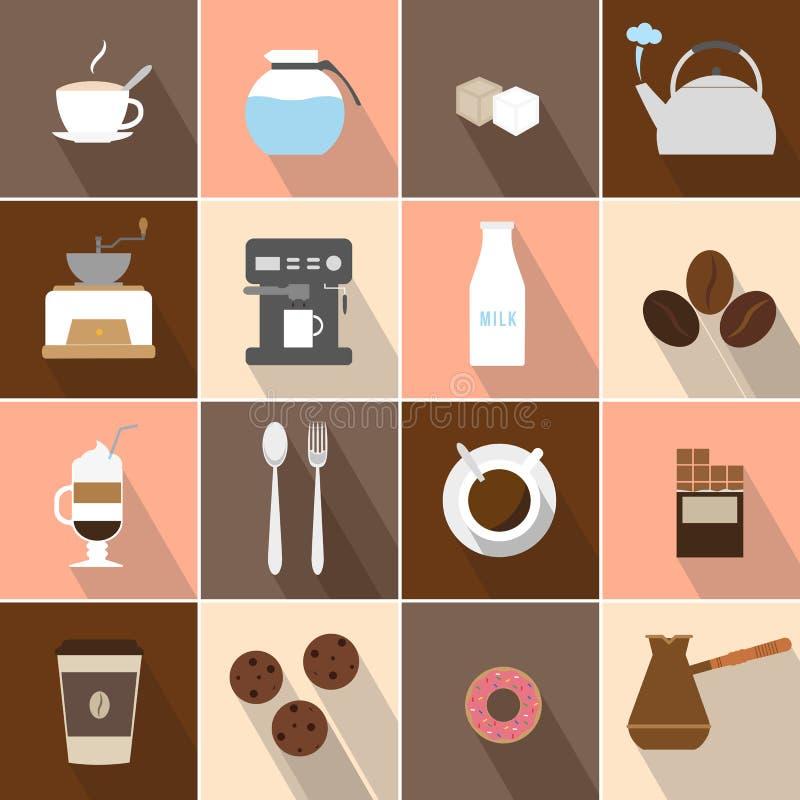 Icone piane del caffè di progettazione messe royalty illustrazione gratis