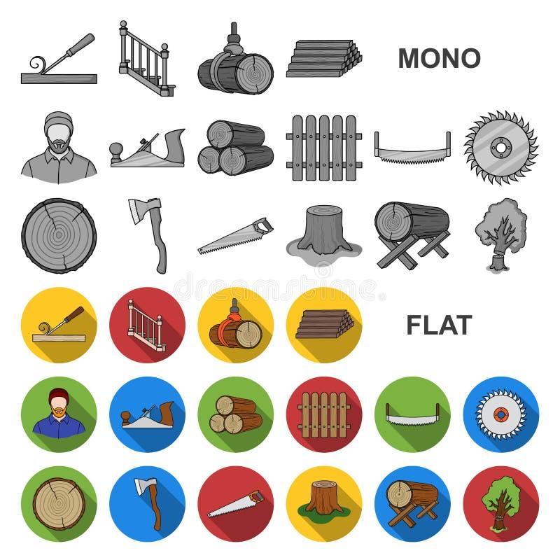 Icone piane del legname e della segheria nella raccolta dell'insieme per progettazione L'hardware e gli strumenti vector l'illust illustrazione vettoriale