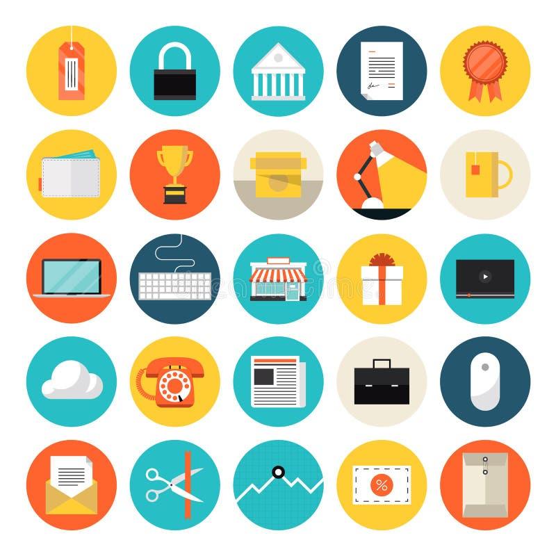 Icone piane del mercato e di commercio elettronico illustrazione di stock