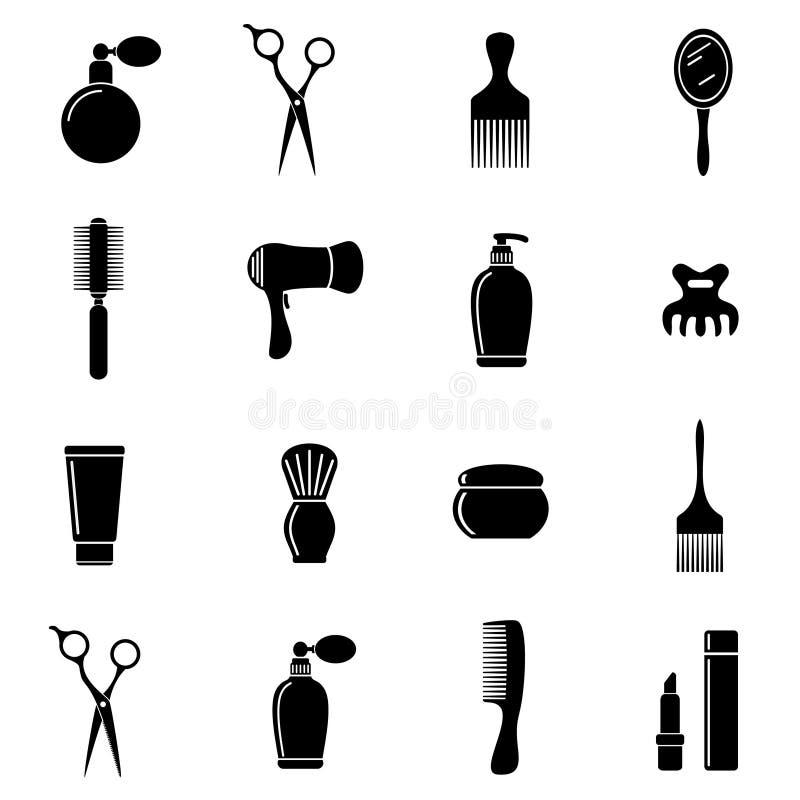Icone piane del salone di capelli messe illustrazione di stock