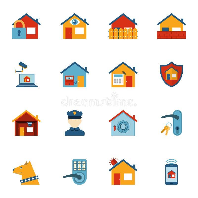 Icone piane del sistema di sicurezza domestico astuto messe royalty illustrazione gratis