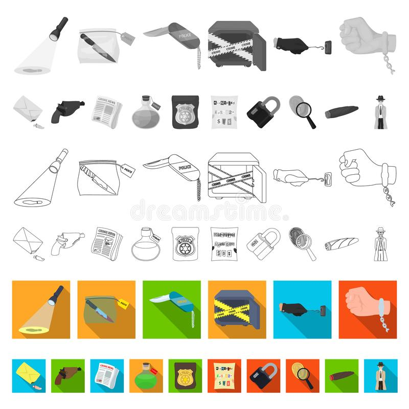 Icone piane dell'agenzia di detective nella raccolta dell'insieme per progettazione Il crimine e la ricerca vector l'illustrazion illustrazione vettoriale