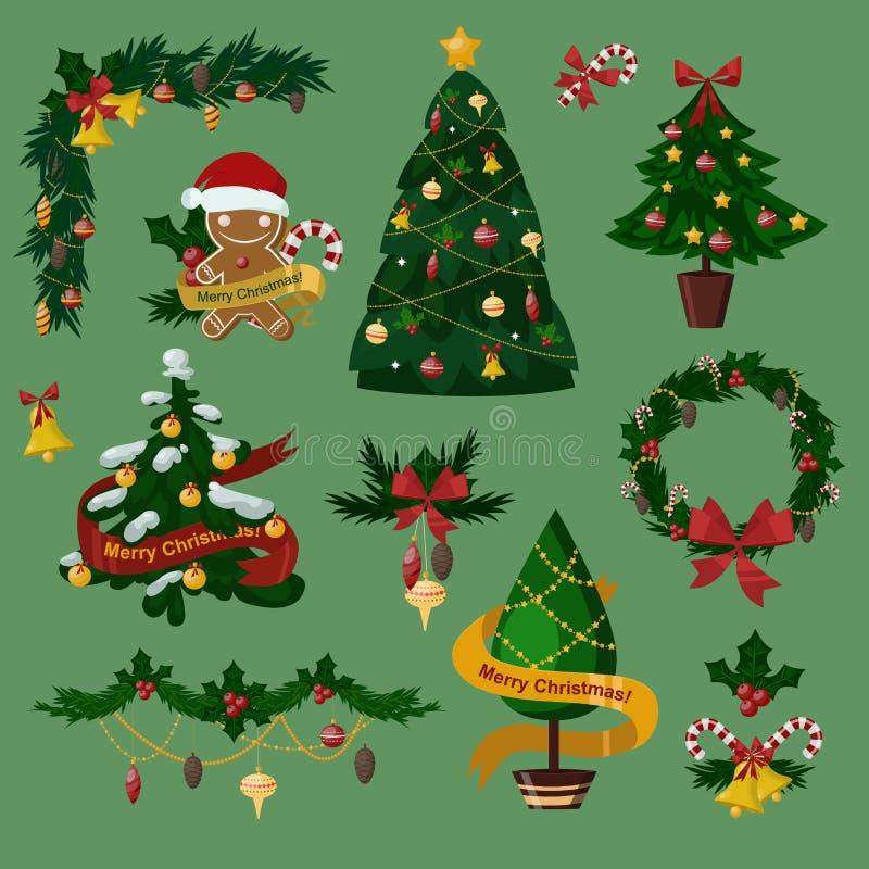 Icone piane dell'albero di Natale messe illustrazione di stock