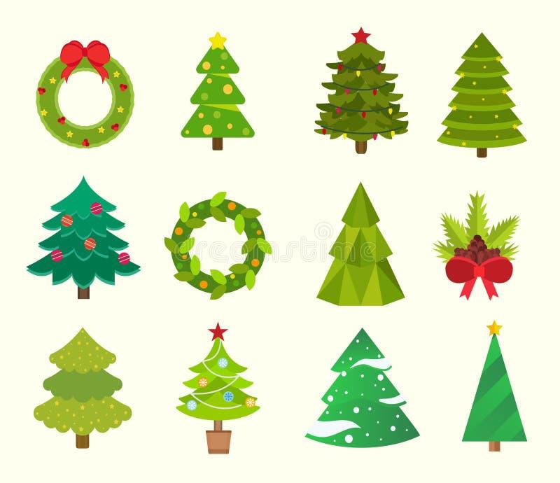 Icone piane dell'albero di Natale messe royalty illustrazione gratis
