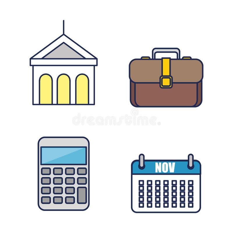 icone piane dell'attrezzatura del lavoro d'ufficio illustrazione di stock