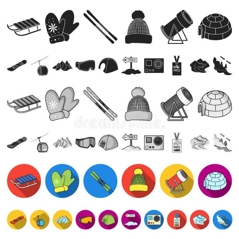 Icone piane dell'attrezzatura e della stazione sciistica nella raccolta dell'insieme per progettazione Web delle azione di simbol royalty illustrazione gratis