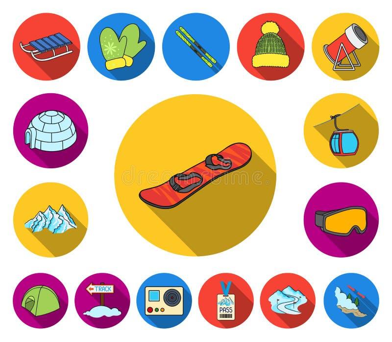 Icone piane dell'attrezzatura e della stazione sciistica nella raccolta dell'insieme per progettazione Web delle azione di simbol illustrazione di stock