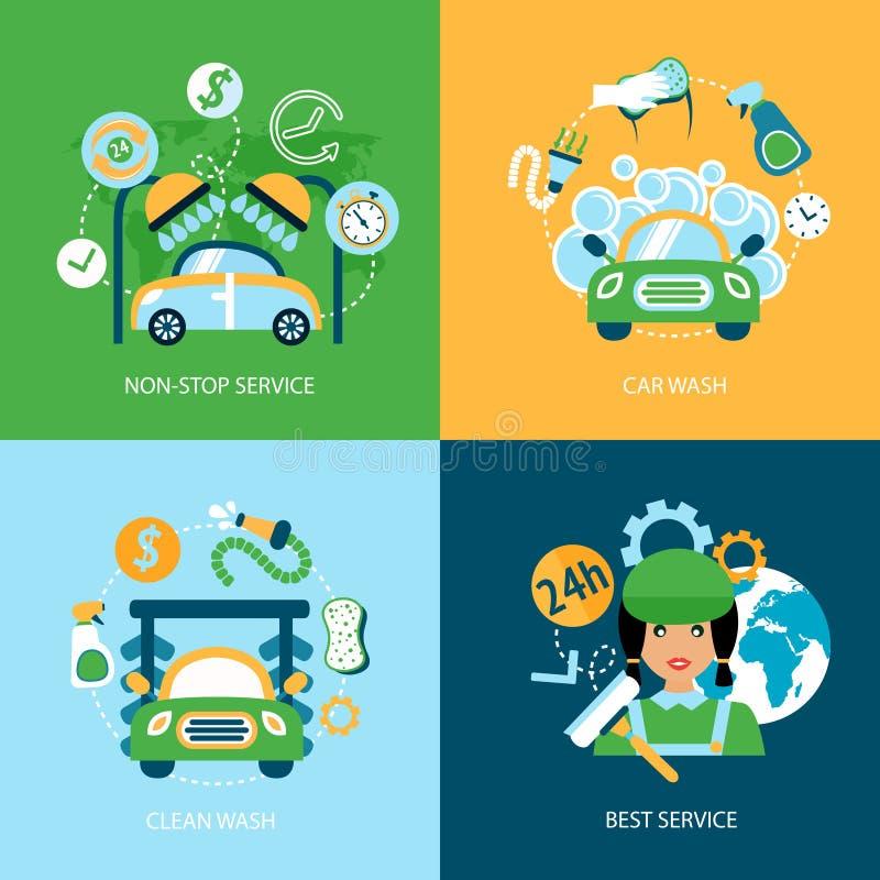 Icone piane dell'autolavaggio illustrazione vettoriale