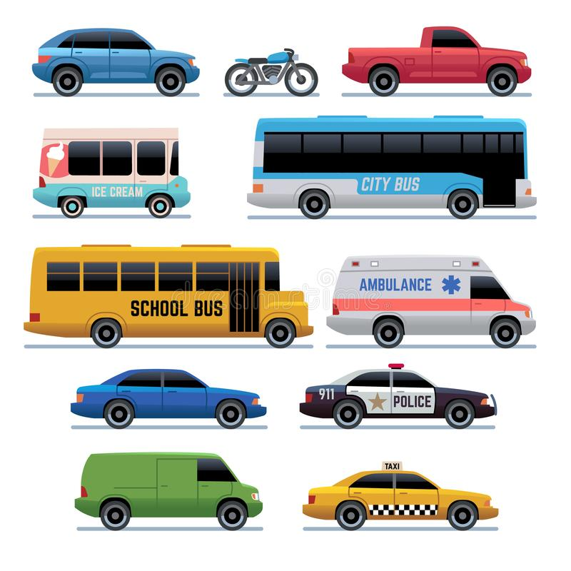 Icone piane dell'automobile Bus di trasporto della città, automobili e bici pubblici, camion Simboli del fumetto di vettore del v illustrazione vettoriale