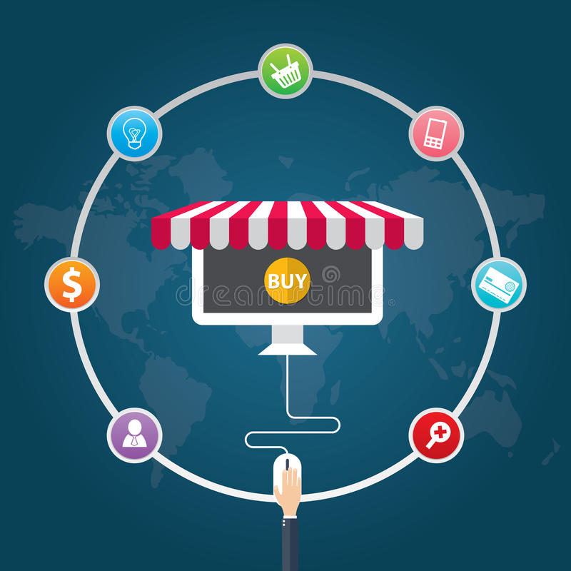 Icone piane dell'illustrazione di vettore di progettazione dei simboli di commercio elettronico, vendita, acquisto online illustrazione vettoriale