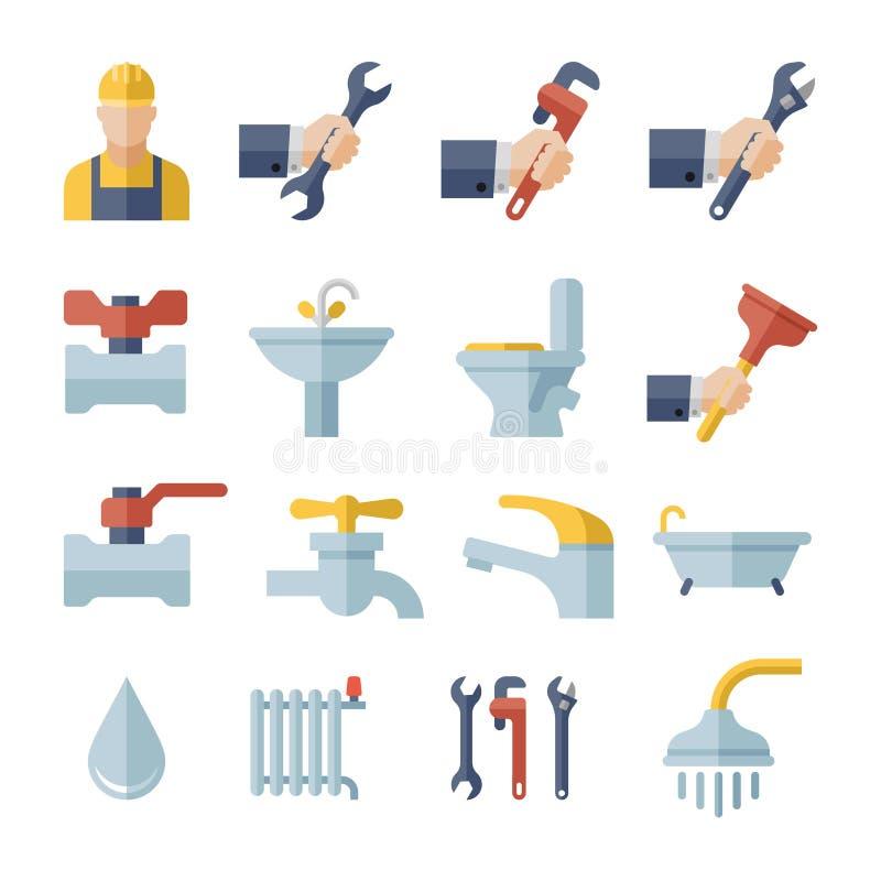 Icone piane dell'impianto idraulico di vettore messe royalty illustrazione gratis