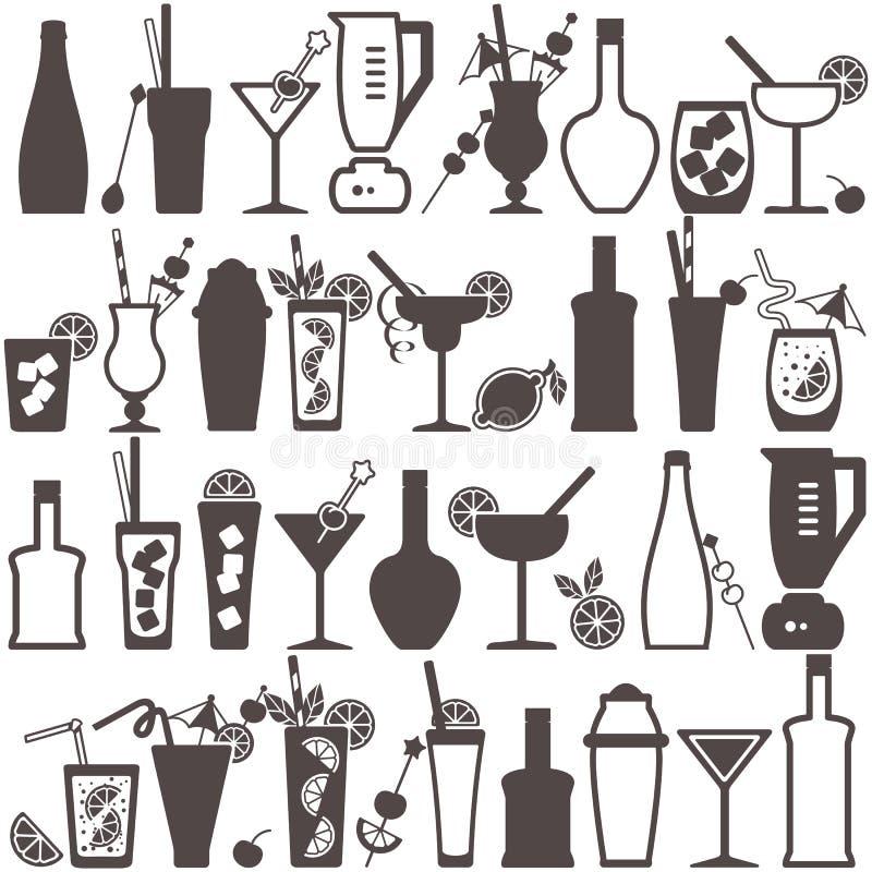 Icone piane della barra del cocktail messe illustrazione vettoriale