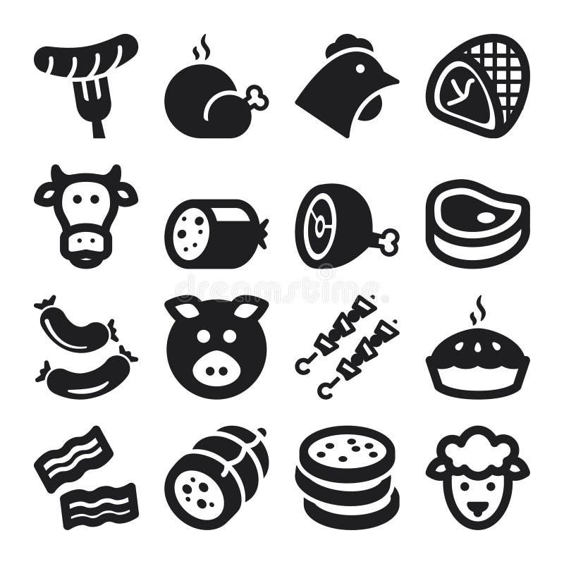 Icone piane della carne. Il nero illustrazione vettoriale