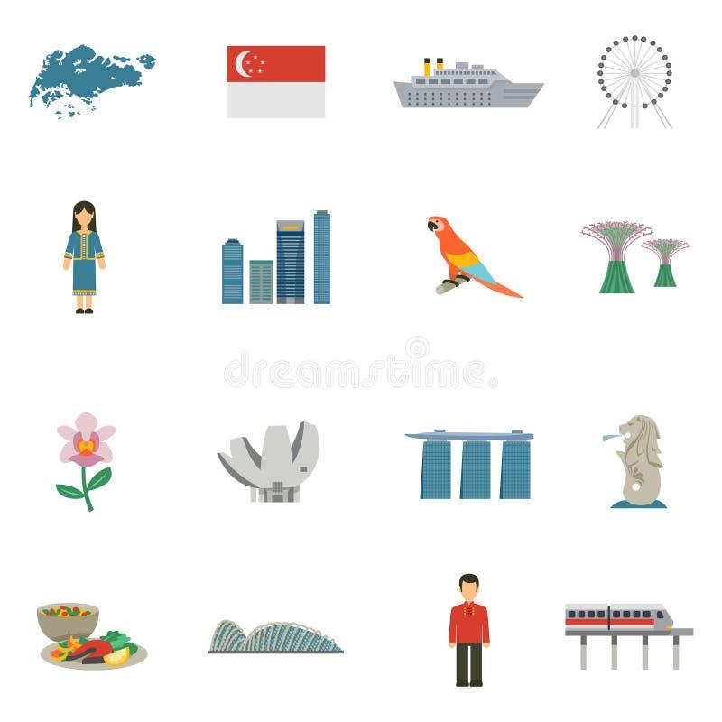 Icone piane della cultura di Singapore messe illustrazione vettoriale