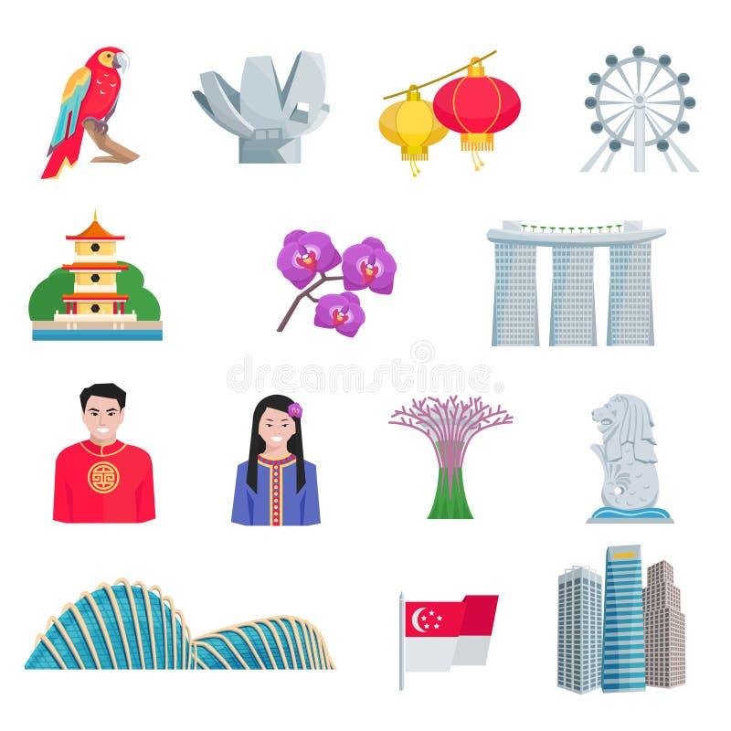 Icone piane della cultura di Singapore messe royalty illustrazione gratis
