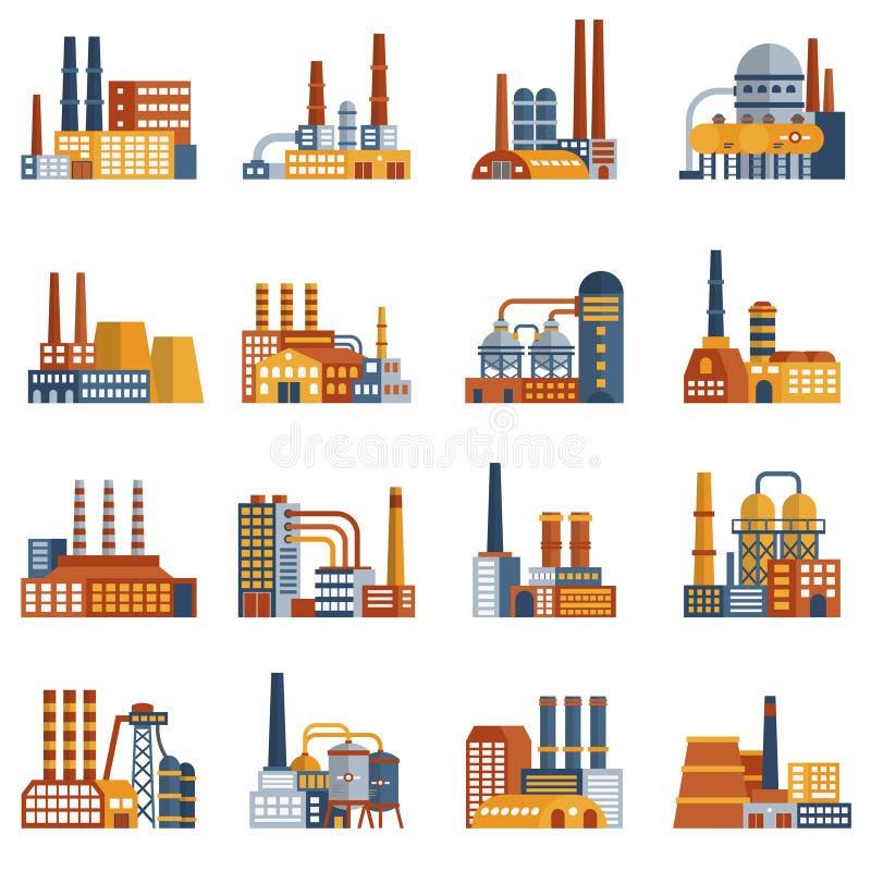 Icone piane della fabbrica messe illustrazione vettoriale