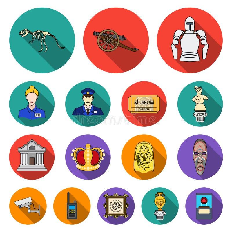 Icone piane della galleria e del museo nella raccolta dell'insieme per progettazione Lo stoccaggio e la mostra del pezzo forte ve illustrazione di stock