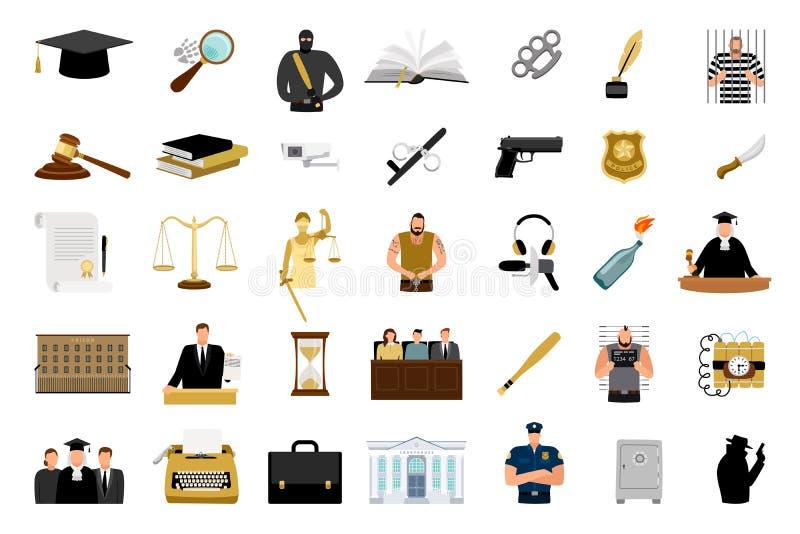 Icone piane della giustizia illustrazione di stock