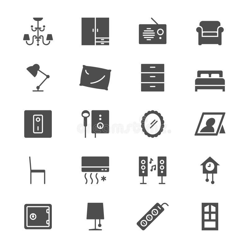 Icone piane della mobilia domestica illustrazione vettoriale