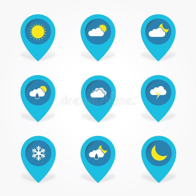 Icone piane della nuvola del tempo messe in puntatore royalty illustrazione gratis