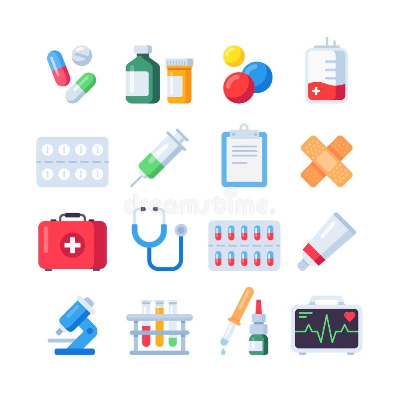 Icone piane della pillola Dose del farmaco della droga per il trattamento Bottiglia e pillole della medicina nell'insieme dell'ic royalty illustrazione gratis