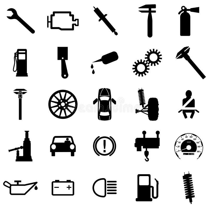 Icone piane della raccolta. Simboli dell'automobile. Vettore illustrazione di stock