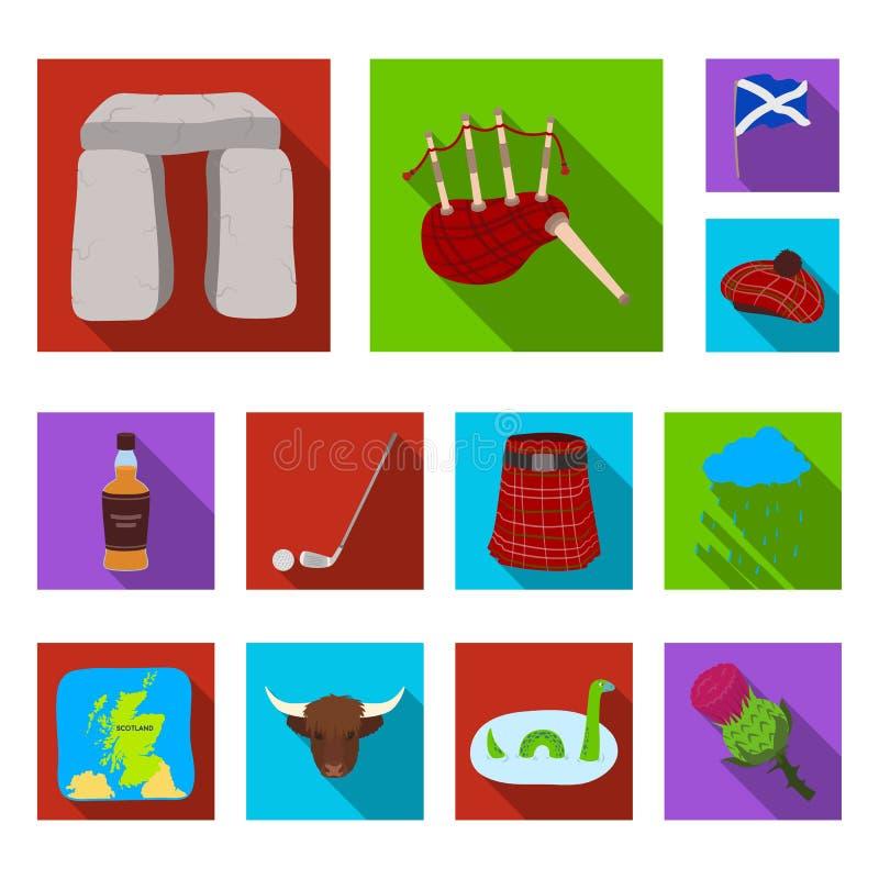 Icone piane della Scozia del paese nella raccolta dell'insieme per progettazione Fare un giro turistico, la cultura e la tradizio illustrazione vettoriale