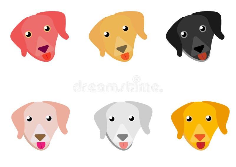 Icone piane della testa di cane di stile di web Fronti dei cani del fumetto messi Illustrazione di vettore isolata su bianco illustrazione di stock