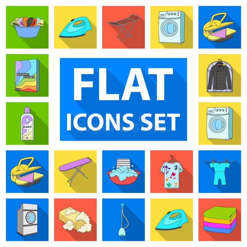 Icone piane delle attrezzature per la pulizia asciutte nella raccolta dell'insieme per progettazione Lavare e rivestire di ferro  illustrazione di stock