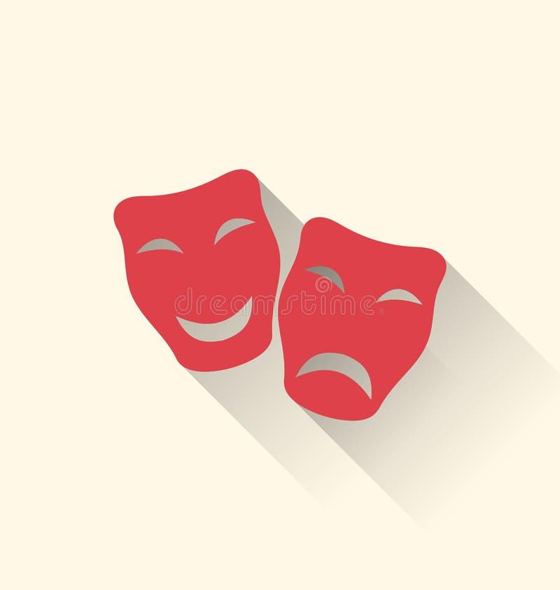 Icone piane delle maschere di tragedia e della commedia per il carnevale o il teatro royalty illustrazione gratis
