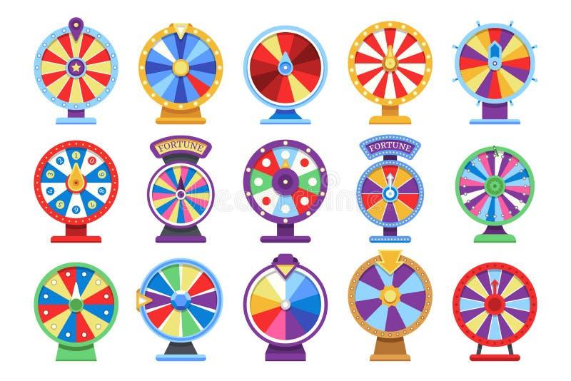 Icone piane delle ruote di fortuna messe Simboli fortunati del gioco dei soldi del casinò della ruota di rotazione illustrazione di stock