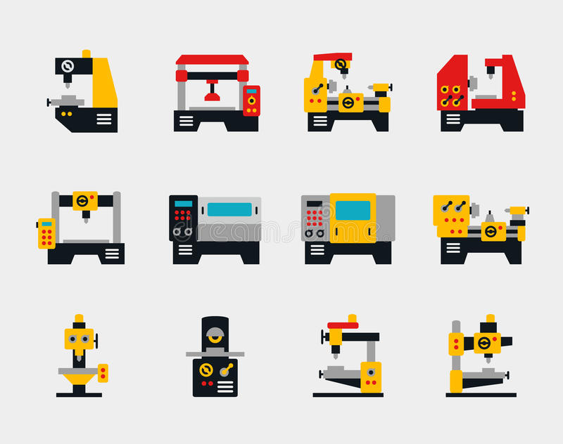 Icone piane delle unità e delle macchine del trasportatore illustrazione di stock