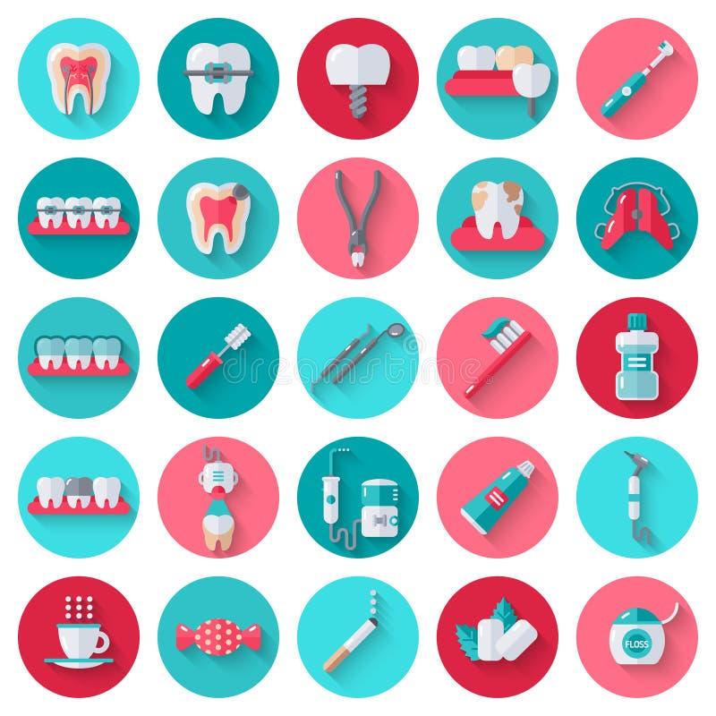 Icone piane dentarie messe nei cerchi illustrazione di stock