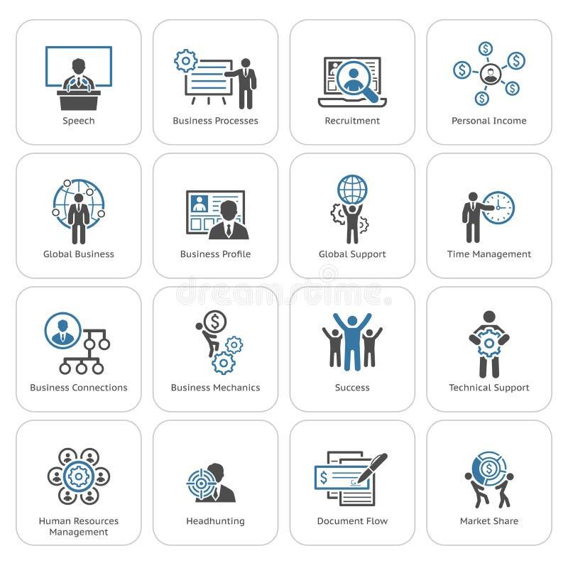 Icone piane di affari di progettazione messe illustrazione vettoriale