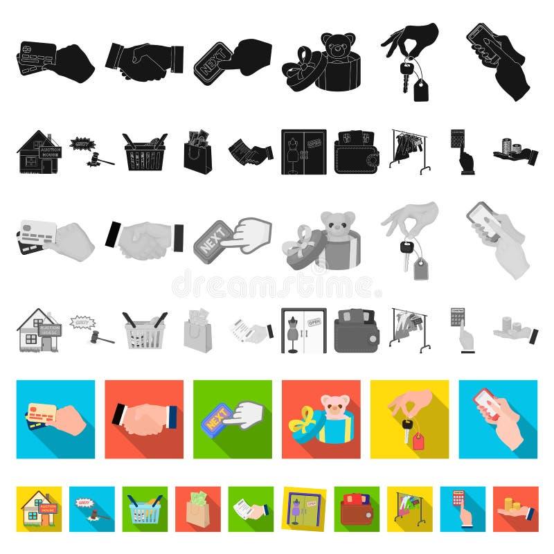 Icone piane di affari e di commercio elettronico nella raccolta dell'insieme per progettazione L'acquisto e vendere del simbolo d illustrazione di stock