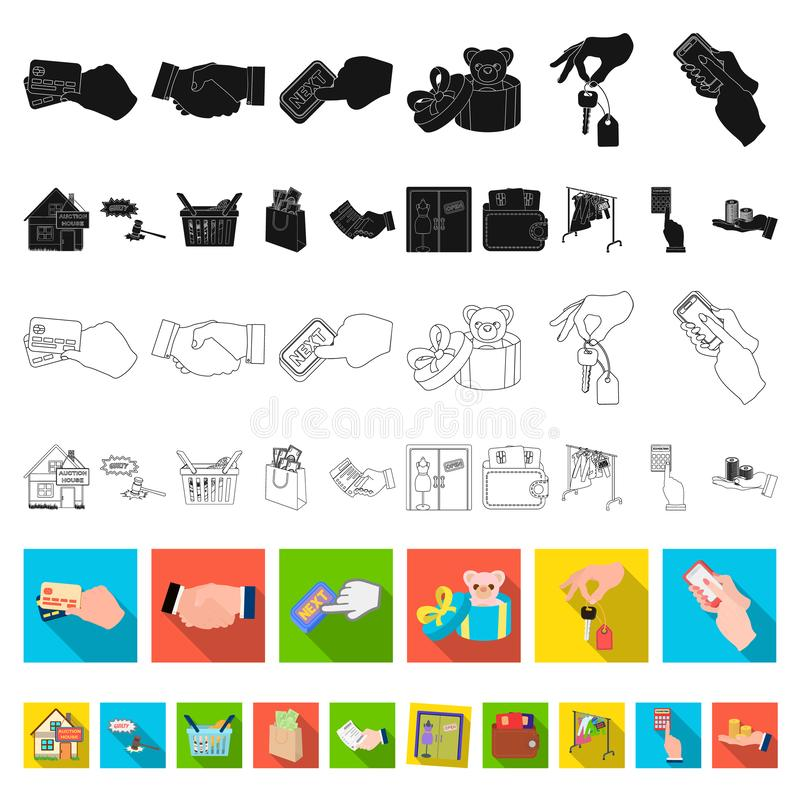 Icone piane di affari e di commercio elettronico nella raccolta dell'insieme per progettazione L'acquisto e vendere del simbolo d illustrazione vettoriale