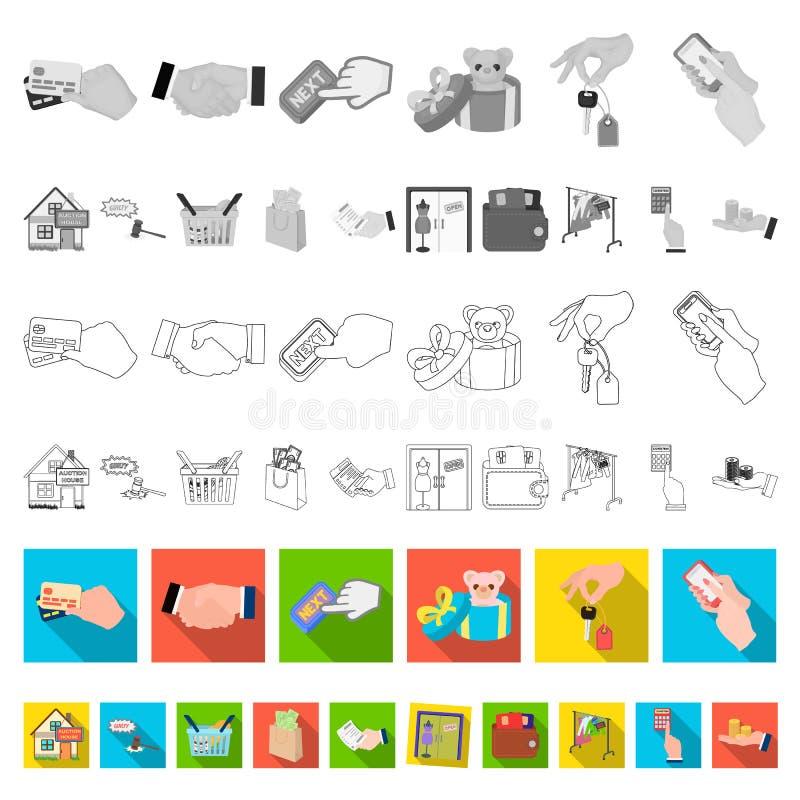 Icone piane di affari e di commercio elettronico nella raccolta dell'insieme per progettazione L'acquisto e vendere del simbolo d royalty illustrazione gratis