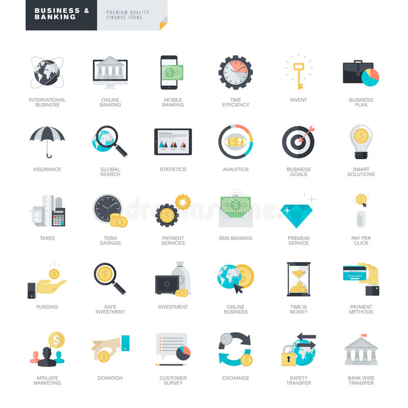 Icone piane di affari e di attività bancarie di progettazione per i progettisti di web e del grafico