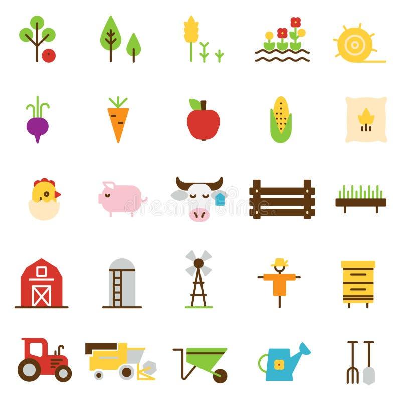Icone piane di agricoltura e di azienda agricola illustrazione di stock