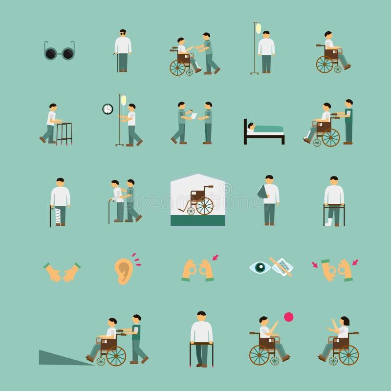 Icone piane di aiuto di cura dei disabili messe illustrazione vettoriale