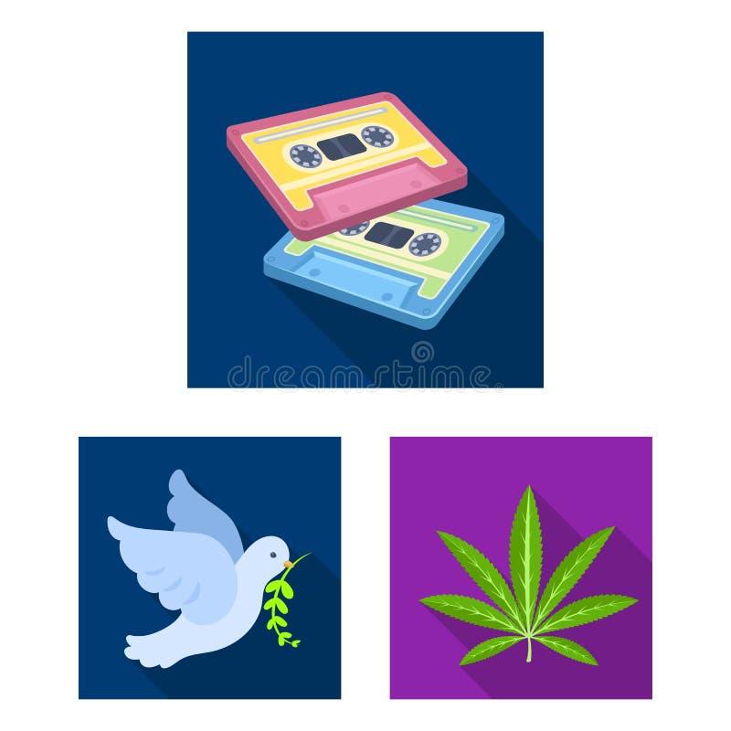 Icone piane di attributo e felici nella raccolta dell'insieme per progettazione Felice ed accessori vector l'illustrazione di ris illustrazione vettoriale